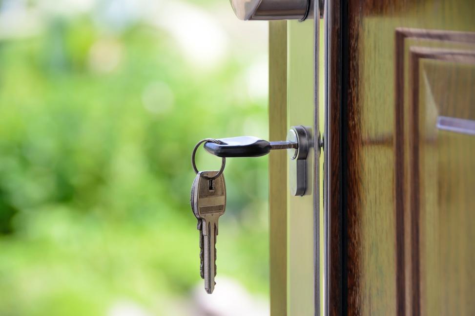 house keys in door