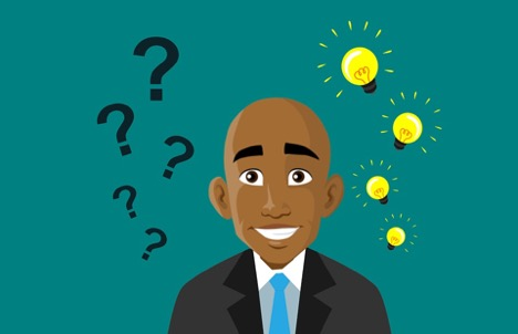 illustrated man smiling in suit and tie with floating question marks to his right and shining yellow lightbulbs to his left
