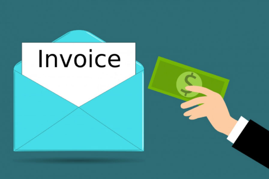 Graphic image of a hand putting money in an envelope with an invoice sticking out