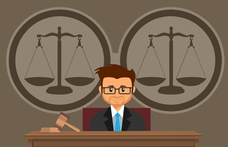 illustrated judge in suit and tie sitting in front of stand with gavel and block with two scales behind him