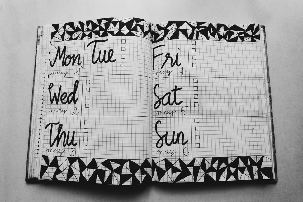 Personal day planner open to the first week of may.