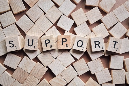 Blocks woth alphabets forming the word Support